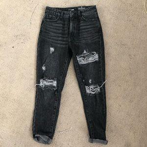 Fashion Nova Black Distressed Boyfriend Jeans